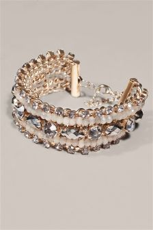 Pretty Jewelled Multirow Bracelet