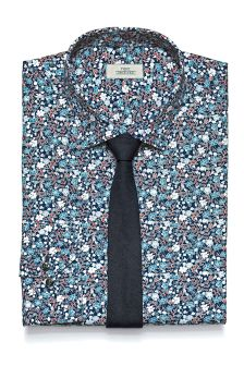 Ditsy Floral Print Regular Fit Shirt And Tie Set