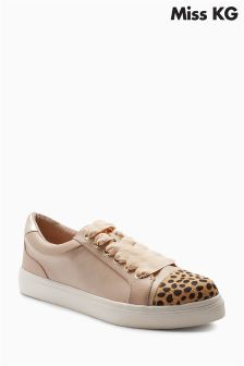 Miss KG Nude Louie Ribbon Laces Animal Cuff Sneaker