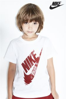 Nike Little Kids White Logo T-Shirt