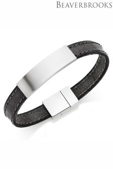 Beaverbrooks Black Leather Stainless Steel Men's Bracelet