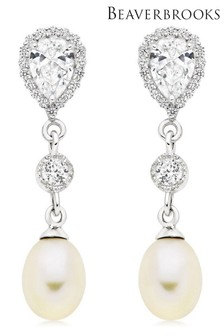 Beaverbrooks Silver Freshwater Cultured Pearl Cubic Zirconia Drop Earrings