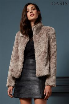 Oasis Pink Faux Fur Coat