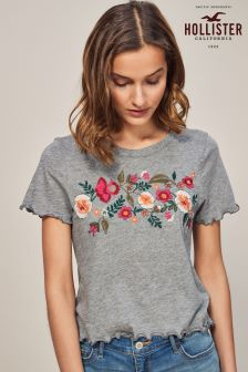 Hollister Grey Floral Cropped Tee