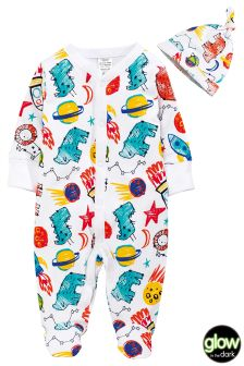 Glow In The Dark Space Print Sleepsuit And Hat Set (0mths-2yrs)