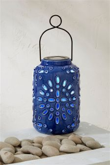 Solar Deep Blue Ceramic Lantern