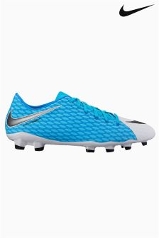 Nike Blue Hypervenom Phelon III Firm Ground Football Boot