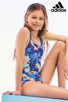adidas Blue/Orange Camo Print Swimsuit