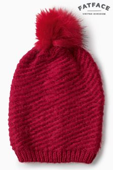 Fat Face Red Rachel Faux Fur Pom Beanie