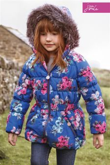 Little Joule Merrydale Blue Ditsy Padded Longline Coat