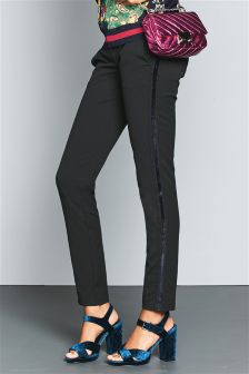 Velvet Side Trim Skinny Trousers