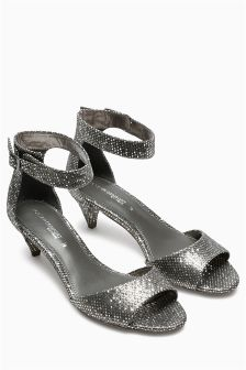 Curved Kitten Heel Sandals
