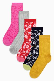 Floral Pattern Ankle Socks Five Pack