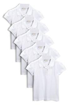 White Poloshirt Five Pack (3-16yrs)