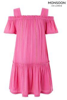 Monsoon Pink Olivia Off Shoulder Dress
