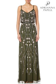 Adrianna Papell Olive MultiColour Sleeveless Beaded Floral