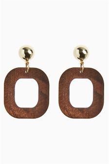 Clip On Geometric Wood Effect Drop Earrings