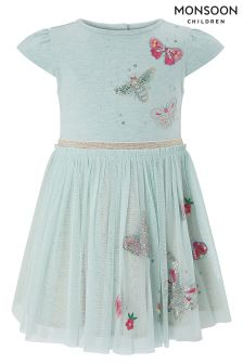 Monsoon Aqua Baby Pansy Disco Dress