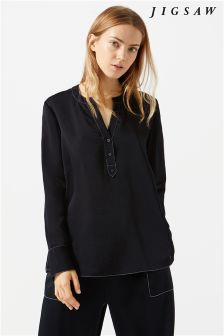 Jigsaw Black Crocus Drape Stitch Detail Blouse