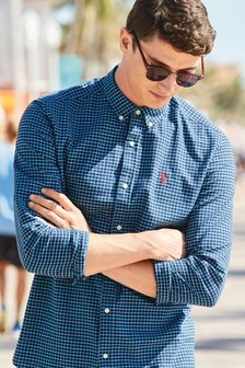 Long Sleeve Mini Grid Check Shirt