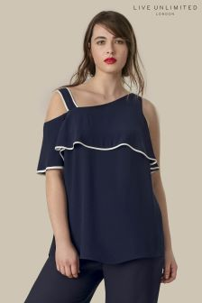 Live Unlimited Navy Ruffle Sleeve Top With Contrast Binding