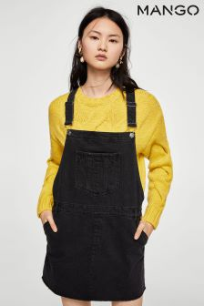 Mango Black Denim Dungaree Dress