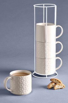 Set of 4 Tile Print Stacking Mugs