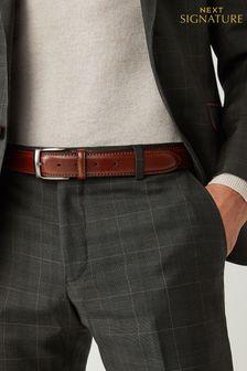 Signature Italian Leather Stitched Edge Belt