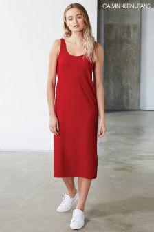 Calvin Klein Red Douce Rib Midi Dress