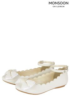 Monsoon Ivory Scalloped Lace Bow Ballerina