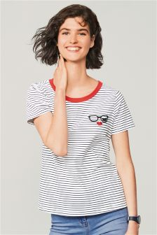 Eyelash Graphic Short Sleeved T-Shirt