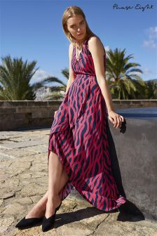 Phase Eight Bright Pink/Navy Talia Print Maxi Dress