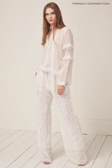 French Connection White Arta Lace Layer Trouser