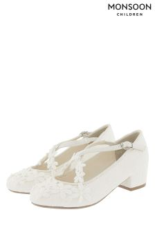 Monsoon Ivory Lace Flower Strap Charleston Shoe