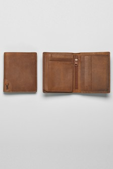 Leather Extra Capacity Corner Stag Detail Wallet