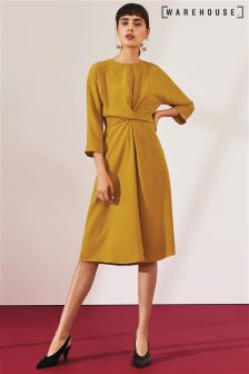 Warehouse Ochre Twist Front Dress