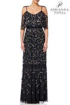 Adrianna Papell Black MultiColour Short Sleeve Embellished