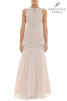 Adrianna Papell Pink Beaded Trumpet Dress