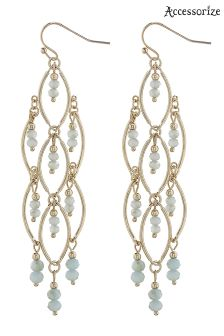 Accessorize Green Sparkle Bead Chandelier Earring