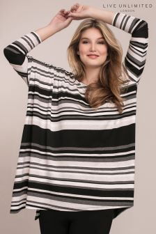Live Unlimited Black Striped Jersey Poncho Top