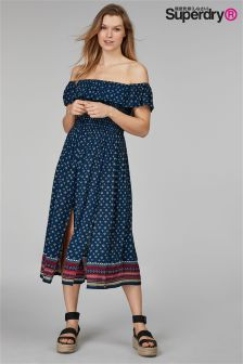 Superdry Ruffle Sleeve Boho Dress