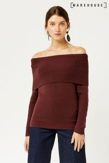Warehouse Berry Marl Cosy Bardot Jumper