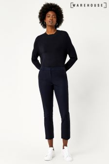 Warehouse Navy Compact Cotton Trouser