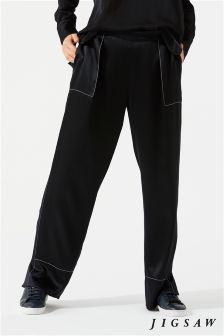 Jigsaw Black Stitch Detail Wide Leg Trouser