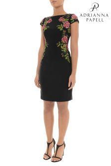 Adrianna Papell Black Short Embroidered Dress
