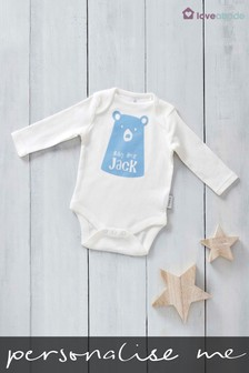 Personalised Printed Named Baby Bear Design Long Sleeved Bodysuit By Loveabode