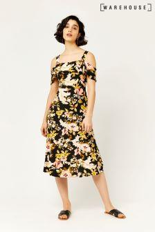 Warehouse Black Hibiscus Cold Shoulder Dress