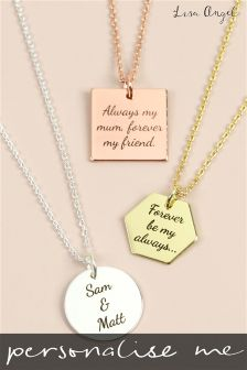 Personalised Geometric Charm Pendant Necklace By Lisa Angel