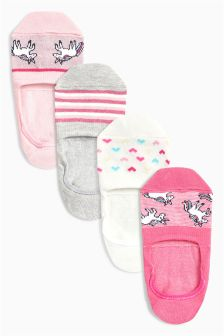 Unicorn Invisible Trainer Socks Four Pack