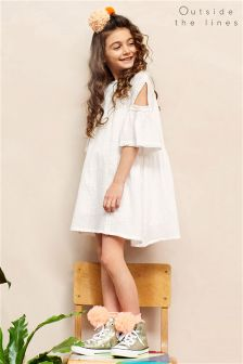 Outside The Lines White Cold Shoulder Dress